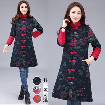 韓國K.W. M~XL限量中國焦點美人彩繪風顯瘦版型鋪棉外套(紅L)