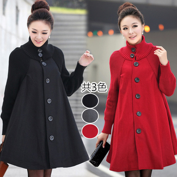 韓國K.W. M~L限量優雅高領洋裝式高領毛呢外套(黑L)
