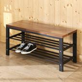 《BuyJM》工業風木紋鐵腳穿鞋椅(椅面厚2.5cm)(木紋色)