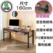 《BuyJM》工業風低甲醛防潑水160公分雙抽屜穩重工作桌(柚木色)
