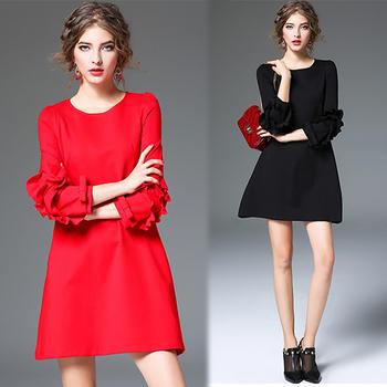 韓國K.W. L~2XL限量法式浪漫花瓣袖蝴蝶結荷葉邊A字素面洋裝(黑L)