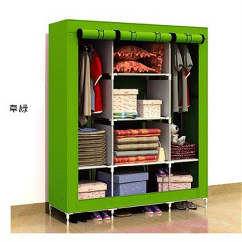 《免運》三排簡易加大防塵衣櫃(綠)