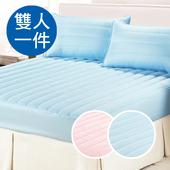 《三浦太郎》防潑床包式保潔墊-雙人粉