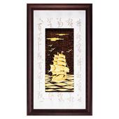 《My Gifts》鹿港窯-立體金箔畫-一帆風順(彩金系列48x82cm)