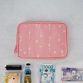 《韓版》超質感280T加厚防水雙層 護照包/收納包(粉色)懸掛式多用途網格收納袋