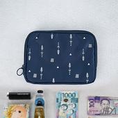 《韓版》超質感280T加厚防水雙層 護照包/收納包(深藍)懸掛式多用途網格收納袋