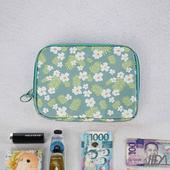 《韓版》超質感280T加厚防水雙層 護照包/收納包(小白花)