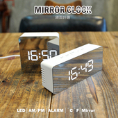 鏡面時鐘 鬧鐘 LED鏡子鐘(長方形)