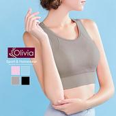 《Olivia》無鋼圈彈力羽翼拼接網紗運動背心(灰色)(灰色-S)