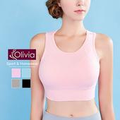 《Olivia》無鋼圈彈力羽翼拼接網紗運動背心(粉色)(粉色-S)