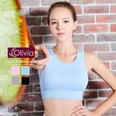 《Olivia》無鋼圈彈力羽翼拼接網紗運動背心(水藍)(水藍-S)