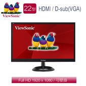 《ViewSonic優派》VA2261h-8 22型 雙介面抗藍光液晶螢幕