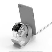 優雅弧形手錶手機充電二合一支架(銀色)