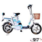 《9I7》電動 48鉛酸 LED 輕便 腳踏助力 電動輔助自行車(白藍)