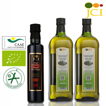《JCI艾欖》特級冷壓初榨橄欖油醋超值組(橄欖油1000ml*2+12年巴薩米克葡萄酒醋250ml*1)