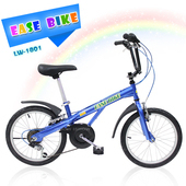 《EASE BIKE》18吋6速 SHIMANO 巨輪多功能休閒車 輔助輪 童車(藍色)