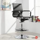 LOGIS安菲米皮革低背高吧椅 梳妝椅 辦公椅 事務椅【BP10A0X】(黑色)