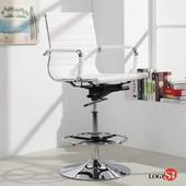 LOGIS安菲米皮革低背高吧椅 梳妝椅 辦公椅 事務椅【WP10A0X】(白色)
