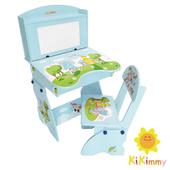 《Kikimmy》歡樂大象升降書桌椅組(水藍色)