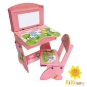 《Kikimmy》歡樂大象升降書桌椅組(粉紅色)