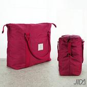 《韓版》簡約質感大容量旅行手提/拉桿收納包(紅色)