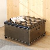 《BuyJM》復古鐵製方形掀蓋收納椅/沙發椅/寬80公分(咖啡色)