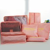 《韓版》輕生活多彩升級版行李箱/衣物收納7件套組(粉點點)懸掛式多用途網格收納袋