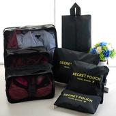《韓版》輕生活多彩升級版行李箱/衣物收納7件套組(黑色)懸掛式多用途網格收納袋