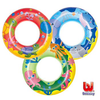 艾可兒 Bestway。海洋系列-20吋泳圈-藍/綠/紅(隨機出貨)