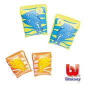 《艾可兒》《Bestway》海豚充氣手臂圈-橘、黃(隨機出貨)