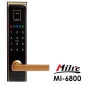 《Milre美樂》四合一密碼/指紋/卡片/鑰匙智能電子門鎖MI-6800(附基本安裝)(黑金色)