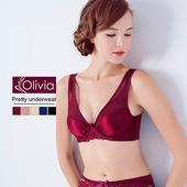 《Olivia》無鋼圈無痕網紗舒適聚攏內衣(酒紅)(酒紅-75A)