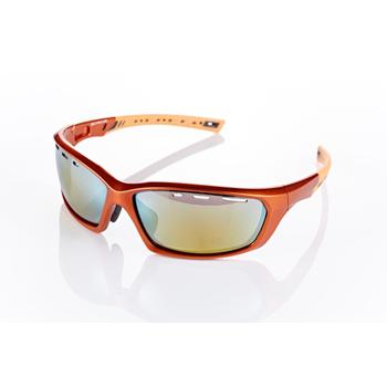 《視鼎Z-POLS》【三代頂級運動款】新一代TR太空纖維彈性輕量材質 弧形包覆設計 頂級運動眼鏡 / 太陽眼鏡 /墨鏡(香檳橘款)