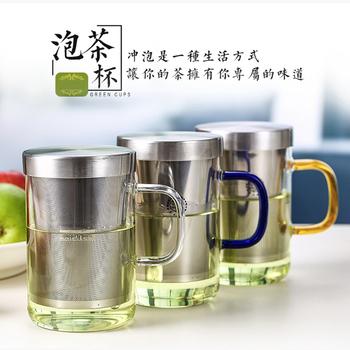 不鏽鋼濾網耐熱玻璃茶杯(黃色)