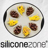 《Siliconezone》施理康耐熱矽膠8連貝殼造型蛋糕模(灰/黑)
