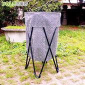 《YOLE悠樂居》鐵架摺疊雜物籃/洗衣籃-黑白線條 #1425042-1(黑白線條)
