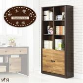 《書櫥【久澤木柞】》木心板2.7尺書櫃(柚木雙色)