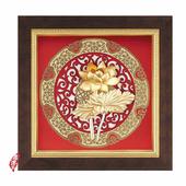 《My Gifts》立體金箔畫-荷香蓮花(圓形窗花系列20.5x20.5cm)