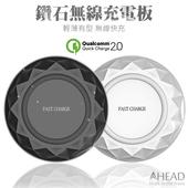 超薄 鑽石無線充電板 QI無線快充 QC2.0快速充電 支援iPhone X/8 充電器 充電座(黑色)