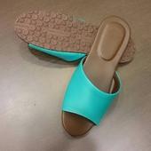 《台灣製》PP繽紛室內皮革拖鞋黛綠(28cm)