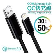蘋果Lightning 8pin QC閃充線 15W快速充電 快充線 充電線 金屬編織 黑色 For~iPhoneX iPhon