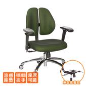 《GXG》人體工學 雙背椅 (鋁腳/升降滑面扶手 TW-2991 LU6(請備註顏色)