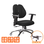 《GXG》人體工學 雙背椅 (鋁腳/升降扶手) TW-2991 LU5(請備註顏色)