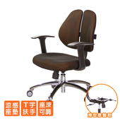 《GXG》人體工學 雙背椅 (鋁腳/T字扶手) TW-2991 LU(請備註顏色)