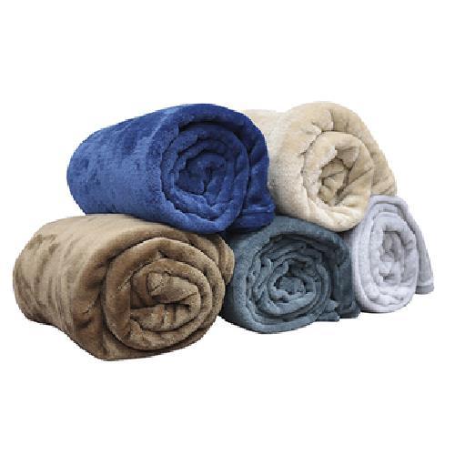《Indian》法蘭絨素色休閒毯-混款隨機出貨(130*170cm)