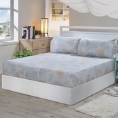《Victoria》純棉雙人床包+枕套三件組-葉影(5*6.2尺)