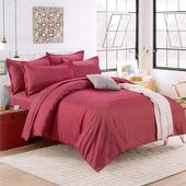 《Indian》簡約條紋加大兩用被床包組-紅(6x6.2尺)