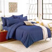 《Indian》簡約條紋加大兩用被床包組-藍(6x6.2尺)