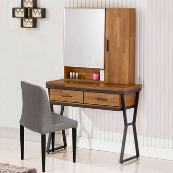 《Homelike》洛基工業風3尺化妝桌椅組