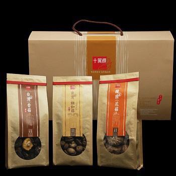 《十翼饌》賀歲香菇禮盒(新社香菇100g+鈕釦菇100g+韓國花菇120g)(五組)